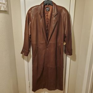 Tannery West Brown Leather Full Length Trench Coat